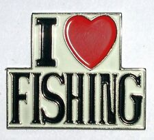 métal émail épinglette broche I Love Pêche Luv pêcheur pêche coeur d'amour