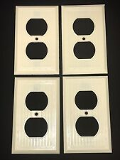 4 Vintage Early Uniline BAKELITE Ribbed Lines Single Gang Outlet Plate Covers