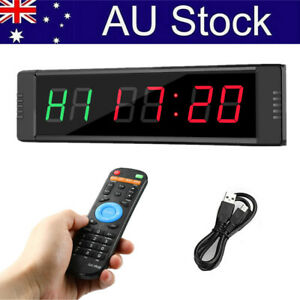 1'' Programmable Interval Gym Timer Clock Tabata Stopwatch Home Workout Fitness
