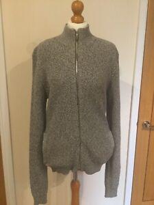 George Mens Grey Marl Thick Knitted Full Zip Jumper, Jacket, Uk Medium BNWTS