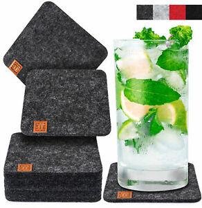 10er Set Miqio® Design Glasuntersetzer Filz Waschbar Glas Getränke Untersetzer