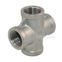 """304 Stainless Steel Pipe Fitting 1"""" Thread 4 Way Female Cross Coupling Connector"""
