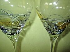 2 Crystal Wine Glasses Stained Glass Mosaic Yellow and Cobalt Blue Outline MINT