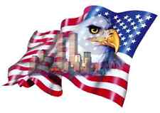 """Firefighter Eagle Flag Decal NYC, 1 SET, 5.5"""" wide X 3.75 high     #EF34"""
