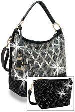 Rhinestone Hobo Black Handbag Set -Large One includes Extra Extendable Strap