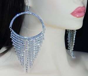 Wedding Clear Silver Chandelier Crystal Rhinestone Hook Earrings