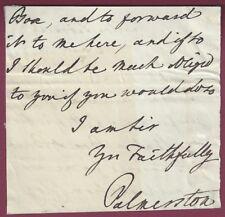 Henry John Temple, British Prime Minister, Letter Signed, COA, UACC RD 036