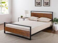 Bed Wood Metal Frame King Size Headboard Modern Platform Support Mattress Rails