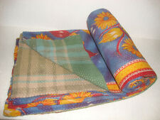 Vintage Kantha Quilt Fine Cotton Reversible Throw Bedspread Home Bedding QM3851