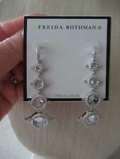 NWT Frieda Rothman Sterling Silver/ Silver Plated Drop Earrings/Clear/ CZ Stones