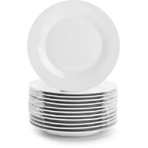 Round White Plates, Set of 12, Dessert or Dinner 2 Sizes,  Porcelain