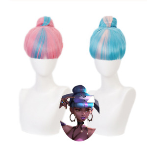 League of Legends LOL True Damage Qiyana Pink Blue Wig With Bun Cosplay Prop