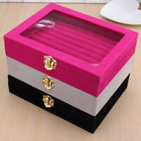 New Velvet Ring Jewelry Display Organizer Case Tray Holder Earring Storage Box