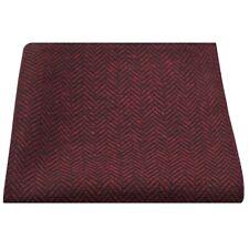 Cranberry Red & Black Herringbone Pocket Square, Handkerchief