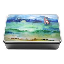 Watercolour sailboat nautical water Metal Storage Tin Box 099
