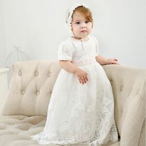 2PCS Lace Baby Girl Baptism Dress Christening Gown Blessing Dress with Bonnet