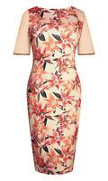 Womens Ladies Bodycon Peach/Pink Lily Print Dress Sizes 10-12-14-16-18-20 New **