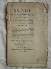MARET : UN AMI DE LA CONSTITUTION A SES FRERES DE BOURGOGNE, 1790 (impôts).