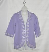 Bob Mackie Linen/Rayon 3/4 Sleeve Jacket with Embroidery Size S Lavender