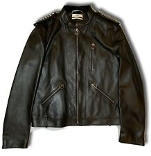 $2,600 Bally Black Studded Leather Jacket Size US Large, EU 52 Made in Italy