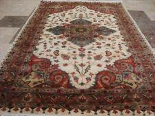 Exclusive Abrash Taj Ivory Medallion Hand Knotted Rug Wool Silk Carpet (6 x 4)'