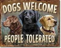Welcome Metal Tin Sign MADE USA 16x12 Dog Lover Gift Home Office Wall Art Decor