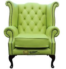 Chesterfield Armchair Queen Anne High Back Wing Chair Birch Melon Green Leather