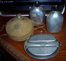 Vintage Canteen Aluminum Lot + Military Mess Kit Vintage MA Co 1944