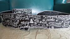 "CHRISTMAS RIBBON WIRE EDGE chalkboard Black White SCRIPT 2.5"" 5 yd DIY Bows"