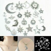 23pcs Mix Star Moon Sun Planet Charm Tibet Silver Pendant Bracelet Beads Jewelry