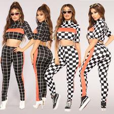 0b843a3c53c3 2pcs Women Fashion Short Sleeve Check Print Long Jumpsuit Trousers Casual  Sporty