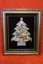 Memorial, Framed Handmade Christmas Tree, Vintage Costume Jewelry, velvet, OOAK
