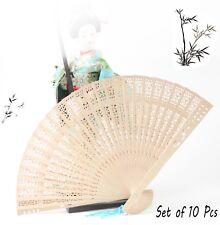 10Pcs Classic Wooden Asian Hand Fan w Random color Tassel Dance Party Decoration