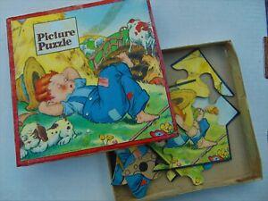 RARE ANTIQUE 1942 WHITMAN'S CHILDREN'S PUZZLE~ NAPPING FARM BOY ~ COMPLETE!