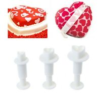 3Pcs Love Heart Fondant Plunger Cutters Icing Mould Cake Decorating Baking Tools