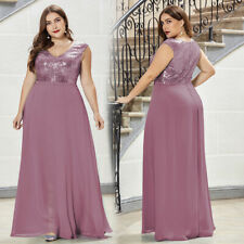 Ever-Pretty Long Bridesmaid Dresses V-Neck Chiffon Sequin Dress A-Line Gown