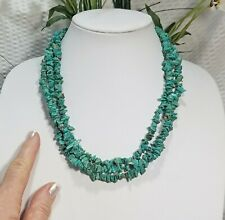Vintage Genuine Turquoise Nugget Multi Strand Choker Necklace