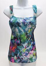 Profile by Gotex Blue Green Floral Swim Suit Tank Top, 32D Underwire, NWOT