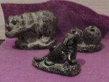Aarktik Sculptures Bear with Salmon in mouth Soapstone Made in Canada