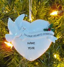 In Our Hearts Forever With Mistletoe - Personalized Christmas Ornaments