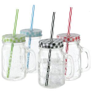 4er Set Trinkgläser mit Deckel, Henkel und Strohhalm Vintage Partyglas 400 ml