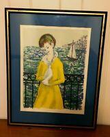 Vintage Nautical Print Girl Dove Sailboat Blue Yellow Wall Decor Nautical Decor