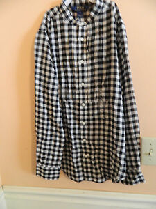 NWT Ralph Lauren girl cream & black checkered button down dress shirt; size 12