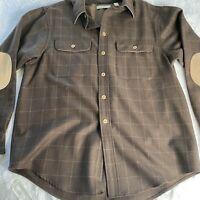 Turnbury Wool  Fabric Brown M Button Down Long Sleeve Shirt Plaid Men