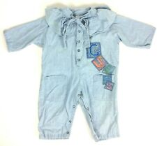 Baby Guess Jumpsuit 24 M Spellout Logo Blue Chambray Ruffled Collar Vtg 80s USA