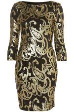 Topshop Black Gold Sequin Baroque Celeb Bodycon Evening Occasion Dress Size 12