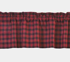 "Lodge/Cabin Dark Red & Black Lumberjack Plaid 16"" x 72"" Cotton Window Valance"