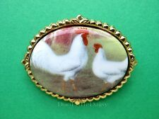 Poultry Porcelain WHITE LEGHORN ROOSTER & HEN Chickens CAMEO Pin Brooch Pendant