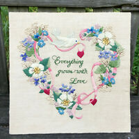 EVERYTHING GROWS WITH LOVE vtg finished crewel embroidery - flowers heart dove
