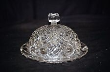 Old Vintage Button & Bar Clear Glass Pressed Cheese Dome or Butter Holder MCM